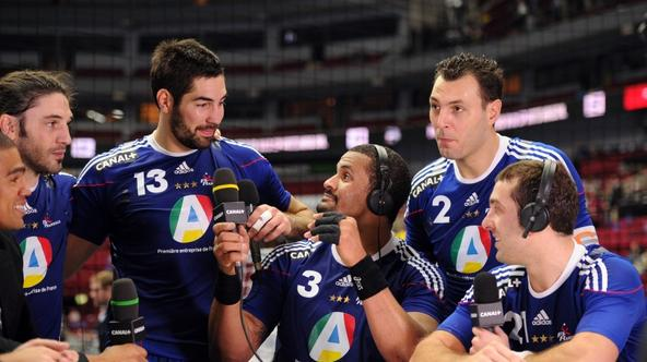 \'French players (From R) Michael Guigou, captain Jerome Fernandez, Didier Dinart, Nikola Karabatic and Bertrand Gille talk to the press after the 2011 Handball World Championship semifinal match Swed