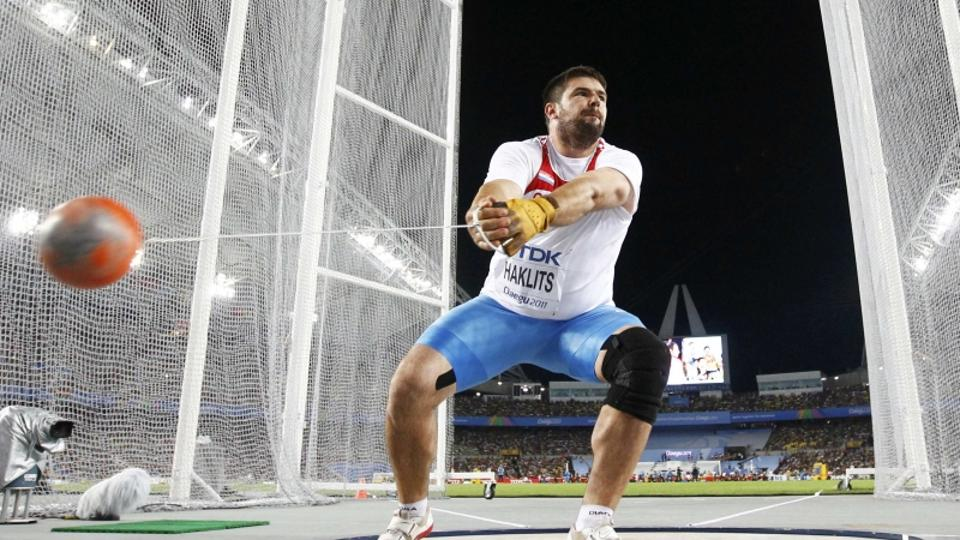 'Andras Haklits of Croatia competes in the men\'s hammer throw qualifying event at the IAAF World Championships in Daegu August 27, 2011.   REUTERS/Kai Pfaffenbach (SOUTH KOREA  - Tags: SPORT ATHLETIC