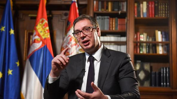 Serbian President Aleksandar Vucic speaks during an interview with Reuters in Belgrade