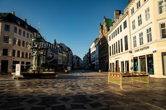 FILE PHOTO: A view of a deserted Stroeget street amid the coronavirus disease (COVID-19) pandemic in Copenhagen
