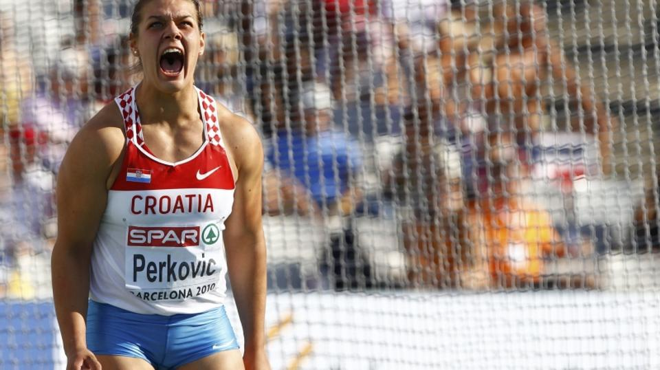\'Sandra Perkovic of Croatia reacts after competing in the women\'s discus final at the European Athletics Championships in Barcelona July 28, 2010.     REUTERS/Dominic Ebenbichler (SPAIN  - Tags: SPO