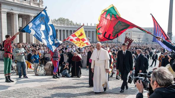 April 15, 2015: Pope Francis, leads his weekly general audience, in St. Peter's Square, at the Vatican./IPA/PIXSELLPhoto: IPA/PIXSELL