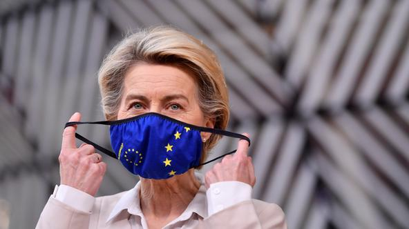 FILE PHOTO: European Commission head Ursula von der Leyen arrives for an EU summit in Brussels