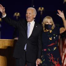 Democratic 2020 U.S. presidential nominee Joe Biden and his wife Jill wave to the crowd at his election rally in Wilmington