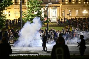 Citizens protest in front of the Serbian Parliament due to the announced measures in the fight against the coronavirus.