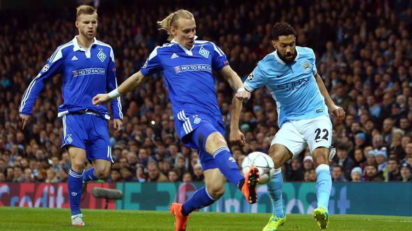 Gael Clichy of Manchester City crosses past Kiev's Domagoj Vida during the UEFA Champions League match at the Etihad Stadium. Photo credit should read: Philip Oldham/Sportimage via PA Images/Photo: Press Association/PIXSELL