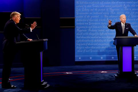 U.S. President Donald Trump and Democratic presidential nominee Joe Biden participate in their first 2020 presidential campaign debate in Cleveland, Ohio, U.S.