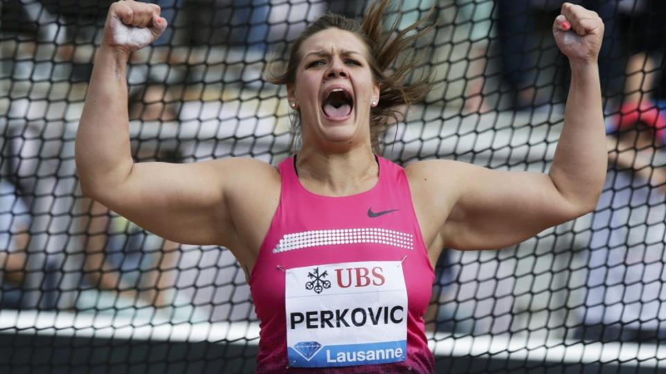 'Sandra Perkovic of Croatia reacts after winning in the Discus event of the Lausanne Diamond League meeting in Lausanne, July 4, 2013.    REUTERS/Denis Balibouse (SWITZERLAND  - Tags: SPORT ATHLETICS