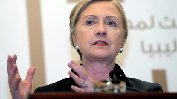 'US Secretary of State Hillary Clinton speaks during a press conference at the end of the third meeting of the International contact group on Libya on June 9, 2011 in the Emirati capital of Abu Dhabi.