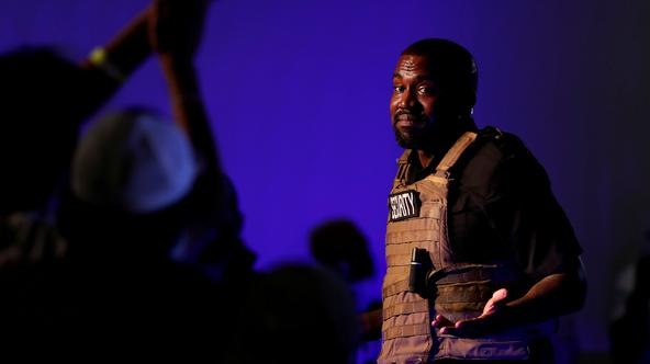 Rapper Kanye West holds his first rally in support of his presidential bid in North Charleston