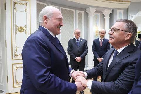 Belarusian President Lukashenko meets International Ice Hockey Federation chief Fasel