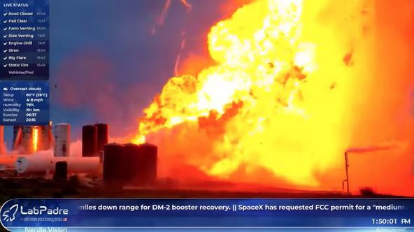 A prototype of SpaceX rocket Starship explodes during ground tests, in Boca Chica