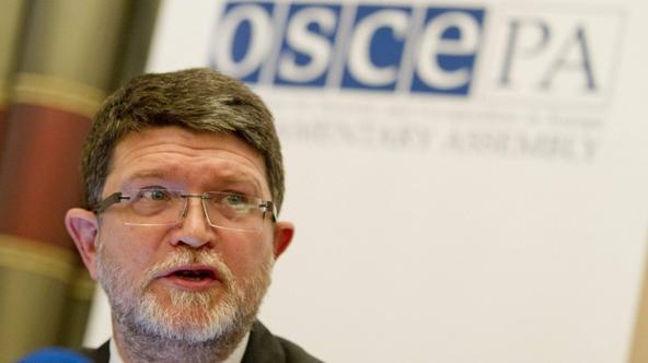 'OSCE election observer Tonino Picula speaks during a news conference presenting his mission\'s assessment after monitoring Russia\'s presidential election during a news conference in Moscow, March 5,