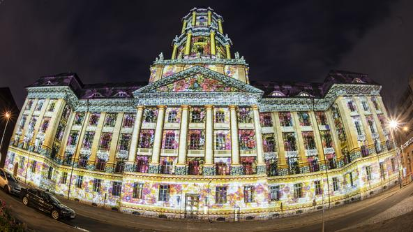 The Altes Stadthaus (Old City Hall) is illuminated by colourful lighting in Berlin,?Germany, 07 October 2016. Numerous buildings in the German capital will be lit in the evening hoours during the 12th Festival of Lights, which will run until 16 October 20