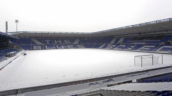 \'A general view of the snow-covered pitch at St Andrews. The game was postponed due to the bad weather a few hours before kick off in the English Premier League football match between Birmingham City