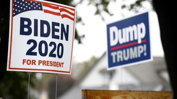 Yard signs supporting Democratic U.S. presidential nominee and former Vice President Joe Biden and against U.S President Donald Trump are seen outside of a house in Lancaster