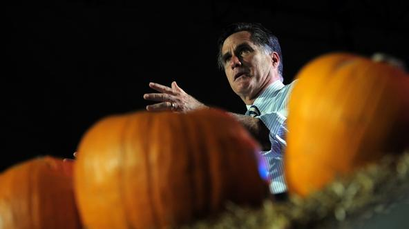 'US Republican Presidential candidate Mitt Romney holds a campaign rally on Halloween at Metropolitan Park in Jacksonville, Florida, October 31, 2012. AFP PHOTO/Emmanuel DUNAND '