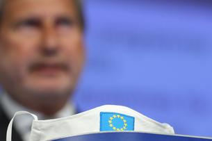 European Commissioner for Budget and Administration Johannes Hahn holds a news conference in Brussels