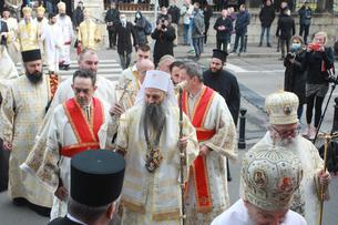 The liturgy at which the solemn act of enthronement of His Holiness Porfirije in the holiest throne of the Archbishop of Pec, Metropolitan of Belgrade and Karlovac and Patriarch of Serbia was performed was served in the Cathedral.