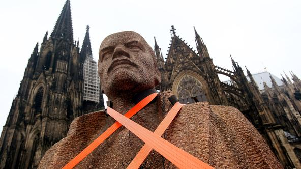 Fragments of the former Dresden Lenin memorial are placed at Roncalli square in Cologne, Germany, 22 October 2009. Artist Rudolf Herz sents the fragments all across Europe 'to show Lenin the 21st century'. At the same time, the exhibition 'Soviet photogra