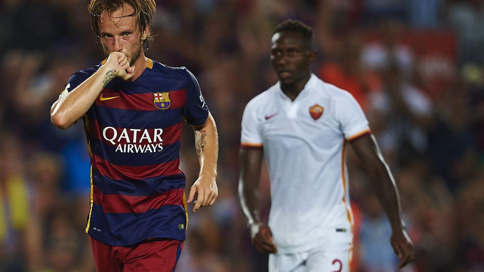 Ivan Rakitic (FC Barcelona) celebrates after scoring, during Joan Gamper Trophy soccer match between FC Barcelona and AS Roma CF, at the Camp Nou stadium in Barcelona, Spain, wednesday august 5, 2015. Foto: S.Lau/DPA/PIXSELL