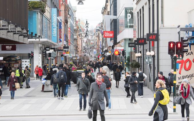 A street with less pedestrian traffic than usual as a result of the coronavirus disease (COVID-19) outbreak is seen in Stockholm