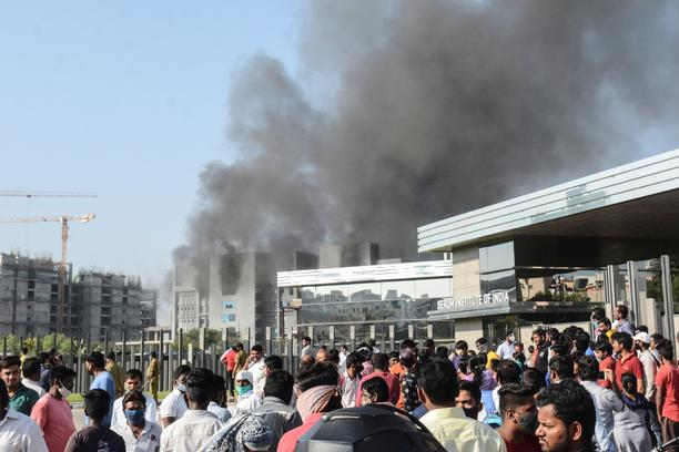 Smoke rises from fire at Serum Institute of India in Pune