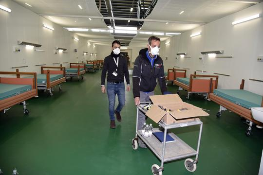Bergamo, CORONAVIRUS - Visit to the hospital built by the Alpine troops