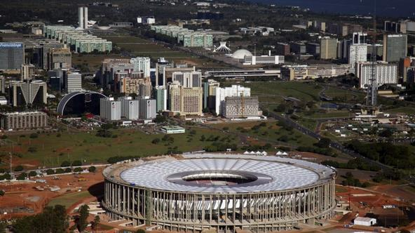 'A general view of the National Mane Garrincha Stadium, seen under construction in Brasilia April, 28, 2013. The stadium will be one of the venues for the 2013 Confederations Cup and the 2014 World Cu