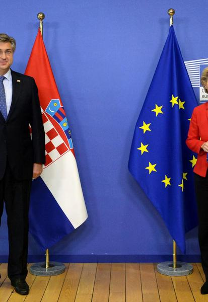 Croatian Prime Minister Andrej Plenkovic meets with European Commission President Ursula von der Leyen ahead of the second face-to-face EU summit since the coronavirus disease (COVID-19) outbreak, in Brussels