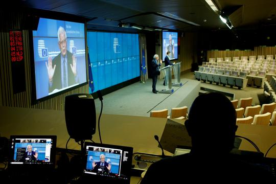 European Union foreign policy chief Borrell attends a news conference after a meeting of EU foreign ministers at the European Council building, in Brussels
