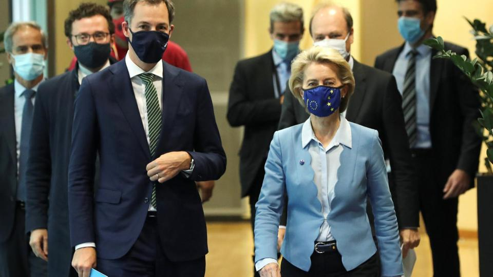 New Belgian PM De Croo is welcomed by EC President Ursula von der Leyen in Brussels