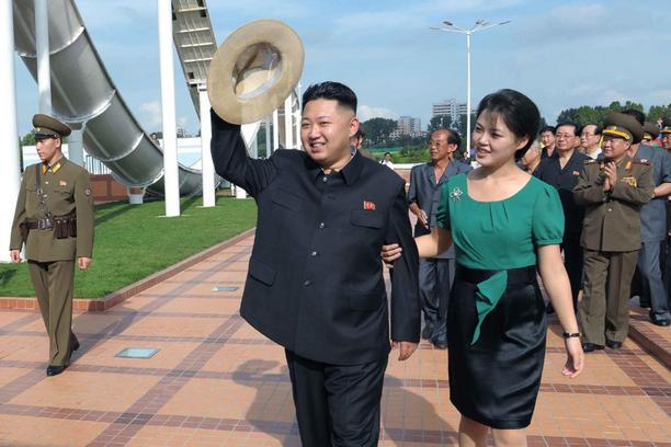 'North Korean leader Kim Jong-Un and his wife Ri Sol-Ju attend the opening ceremony of the Rungna People\'s Pleasure Ground on Rungna Islet along the Taedong River in Pyongyang in this July 25, 2012 f