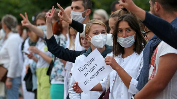 Healthcare workers protest against violence in Moscow
