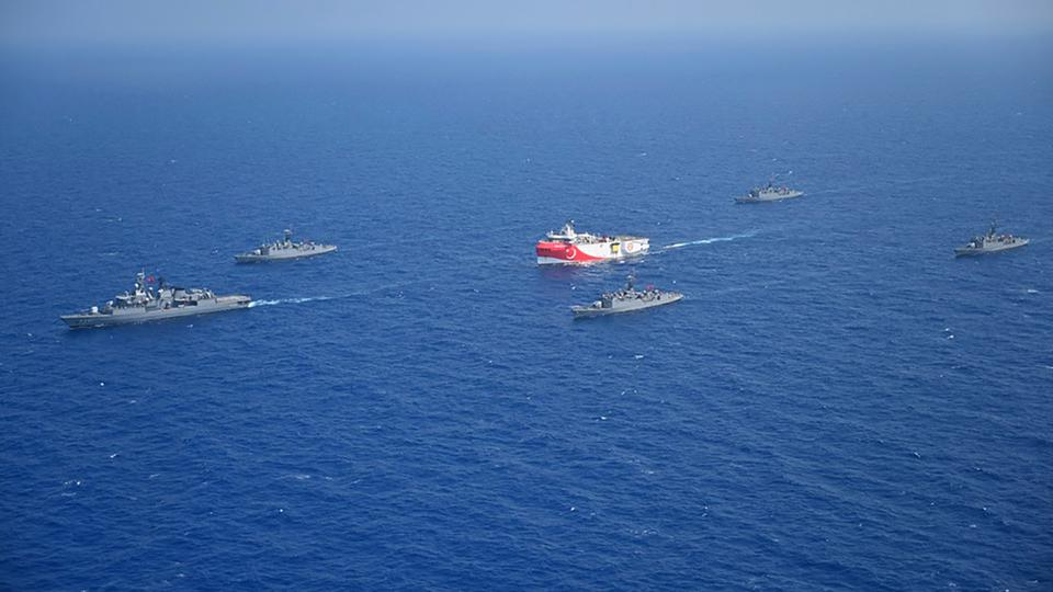 Turkish Navy Ships Escort Oruc Reis - East Mediterranean