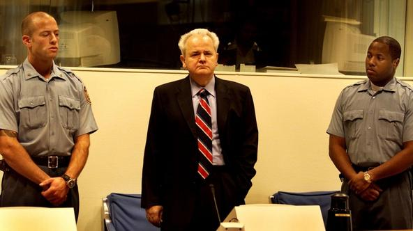 \'Former president of Yugoslavia Slobodan Milosevic appears for the court of the International Crime Tribunal in The Hague, October 29, 2001. Milosevic made his third appearance at the United Nations