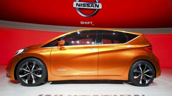 \'A new Nissan Invitation concept car is displayed on the Nissan booth during the first media day of the Geneva Auto Show at the Palexpo in Geneva, March 6, 2012. The Geneva Auto Show will take place
