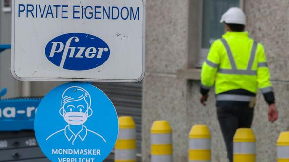 An entrance to the Pfizer factory is seen in Puurs