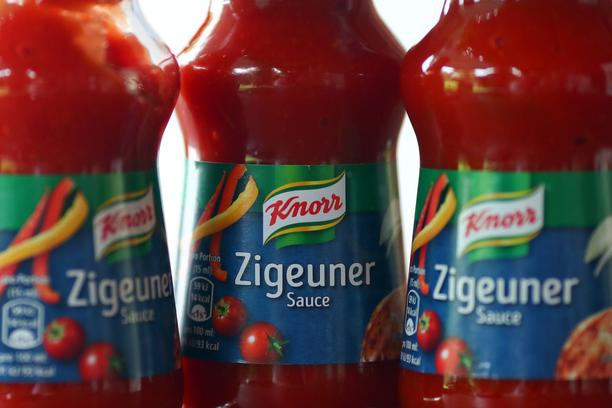 Bottles of Zigeuner sauce are seen in this illustration picture