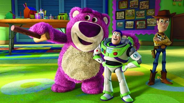 'TOY STORY 3  (L-R) Lots-O-Huggin\' Bear, Buzz Lightyear, Woody   ©Disney/Pixar.  All Rights Reserved.'