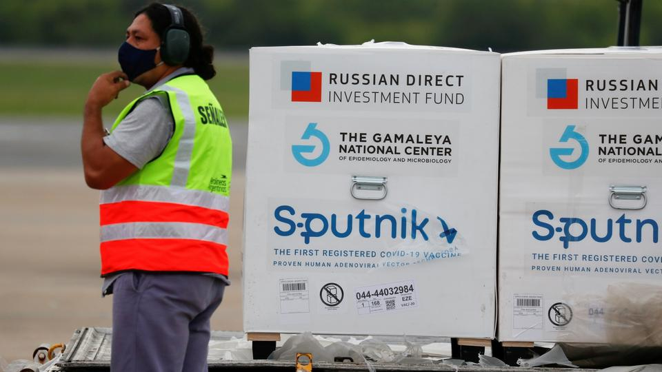 FILE PHOTO: A shipment of doses of Russia's Sputnik V (Gam-COVID-Vac) vaccine is seen after arriving at Ezeiza International Airport, in Buenos Aires