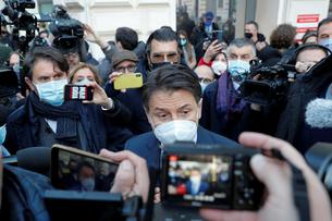 Italian Prime Minister Giuseppe Conte arrives to the Prime Minister's Office in Rome