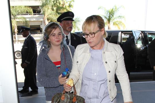 Patricia Arquette and daughter at LAX