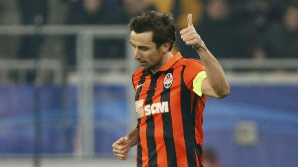 Shakhtar Donetsk's Darijo Srna celebrates after scoring a penalty kick goal during the Champions League group A soccer match against Malmo in Lviv, Ukraine, November 3, 2015. REUTERS/Gleb Garanich  Picture Supplied by Action Images