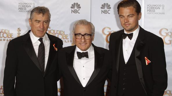 Cecil B. DeMille Award winner director Martin Scorsese (C) poses with US American actors Robert De Niro (L) and Leonardo Di Caprio in the press room at the 67th Golden Globe Awards in Los Angeles, USA, 17 January 2010. The Globes honor excellence in cinem