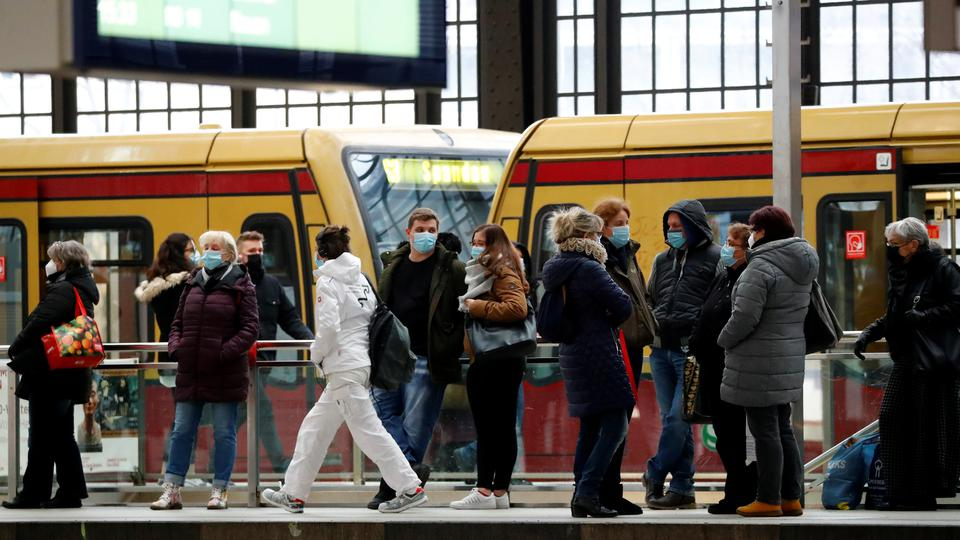 Passengers wear face masks at Friedrichstrasse station during COVID-19 lockdown in Berlin