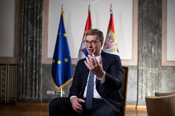 Serbian President Aleksandar Vucic attends an interview with Reuters in Belgrade