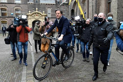 Dutch Prime Minister Mark Rutte leaves after a meeting in The Hague
