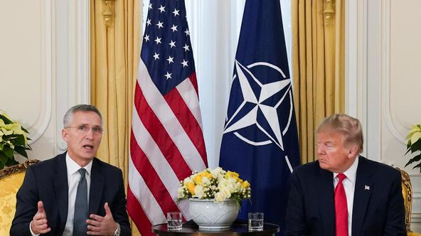 FILE PHOTO: U.S. President Trump meets with NATO Secretary General Stoltenberg, ahead of the NATO summit, in London