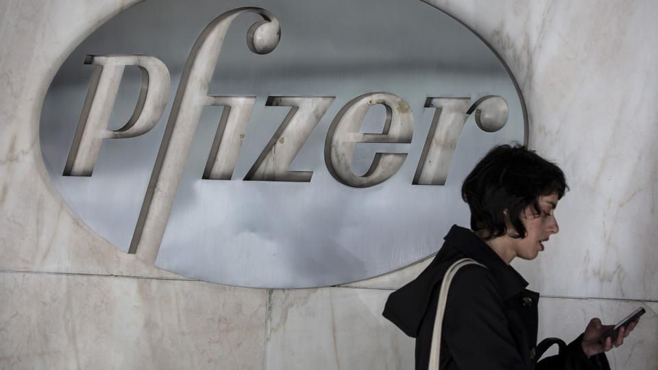 FILE PHOTO: The Pfizer logo is pictured at their building in the Manhattan borough of New York